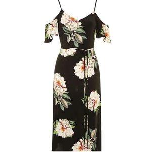 Topshop Black Floral Cold Shoulder Dress